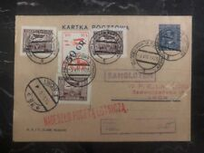 1928 Warsaw Poland Airmail Postcard Cover to Lwow LOPP 5gr Stamp