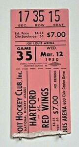 GORDIE HOWE DETROIT Red Wings vs Hartford Whalers March 12, 1980