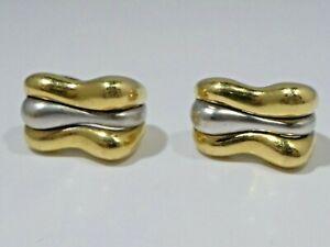 18K WHITE AND YELLOW GOLD  DESIGNER EARRINGS 11 DWT