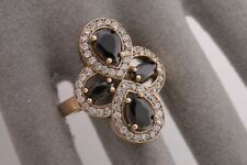 Turkish Jewelry Two Pear Drop Black Onyx Topaz 925 Sterling Silver Ring Size 9
