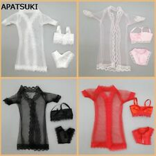 "4sets Pajamas Lingerie Nightwear Lace Coat Bra Underwear Clothes For 11.5"" Doll"