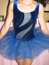 Blue Short Tutu Crystals Panty Ruffle Velvet Ballet Curtain Call Costume ASM