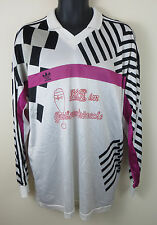 Vtg Adidas 90s Football Shirt 3 Stripe Retro Soccer Jersey Maillot Skjorte XL