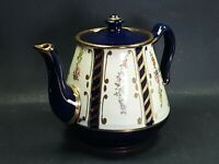 Blue Hand Painted Teapot Gold Guilted