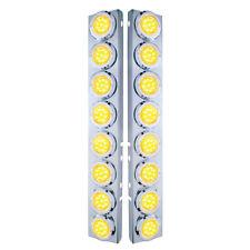 Peterbilt Front Air Cleaner Kit 16 Flat Amber LED Lights & Bezels - Clear Lens