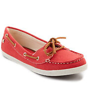 BRAND NEW WITH BOX SEBAGO FAYETTE TIE RED CANVAS CASUAL BOAT SHOES 9 / 40 SALE