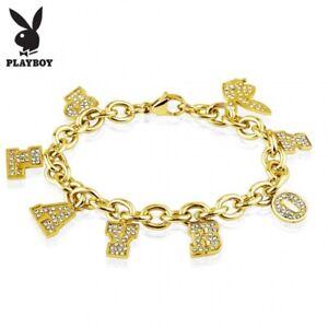 Bracelet Playboy Golden Charms Rhinestone