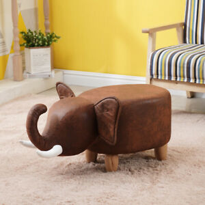 Footstools Ottoman Brown Elephant Stools PU Animal Gift for Adult & Child