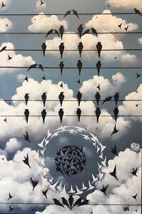 "Original Pop Surrealist Painting ""Jain Hand"" 23x15""Acrylic On Canvas,Signed,COA"