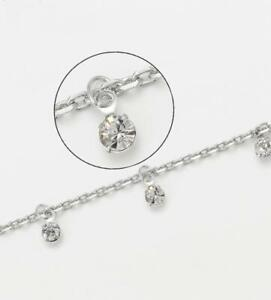 """SALE 9CT 9K White """"Gold Filled"""" Elegant Anklet with Dangling White Stones, Gift"""