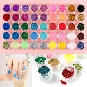 45 Mix Colours Nail Art Craft Acrylic Fine Glitter Powder Pots Tips Decoration