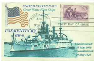 Great White Fleet USS KENTUCKY BB-6 Early Battleship Photo Cachet First Day PM