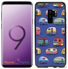 Vintage Camper Print On Blue For  Samsung Galaxy S9 2018 Case Cover