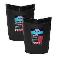 2 x Addis Black Flexi-Bins Waste Paper Baskets Rubbish Office Kids Home Bedroom