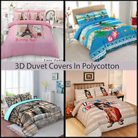 3D Duvet/Quilt Cover with Pillow Case Bedding Set Single Double King All Size