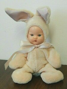 """Vintage Hollywood 5"""" Jointed Hard Plastic Baby Doll in Pink Bunny Suit"""