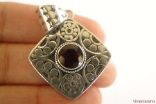 Garnet Solitaire Ornate Balinese 925 Sterling Silver Pendant