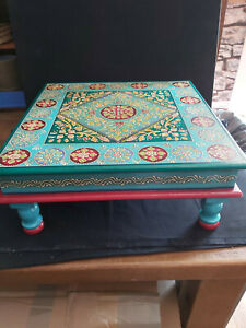 A TRADITIONAL HAND PAINTED WOODEN BAJOT TABLE FROM INDIA - TURQUOISE