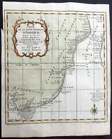 1739 Bellin Original Antique Map of SE Africa - South Africa, Cape to Zanzibar