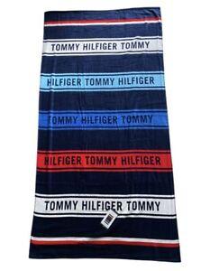 "Tommy Hilfiger Logo Multi Stripe 100% Cotton 36 x 70"" Beach Pool Towel, NWT"