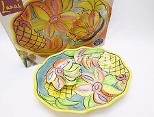Lanai Clay Art Pineapple Chip & Dip Bowl Set Tropical Flower Hawaiian Party Luau