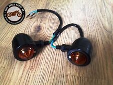 Pair Of Cafe Racer Motorcycle Bike Black Metal Turn Signals Indicator Lights