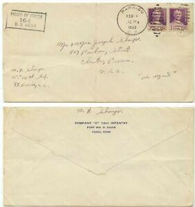 Feb 16 1942 Paraiso Canal Zone 3ct bklt pane pr WWII censored - 14th Infantry