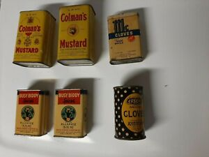 6 Vintage Spice Containers Some Still Full