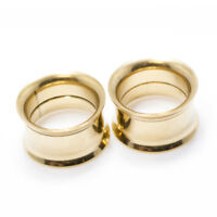 Pair of Gold IP Surgical Steel Double Flared Tunnel Plugs Ear Piercing Gauges