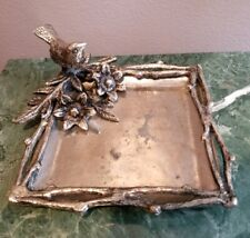 """Vintage/Antique Metal Ashtray/Ring Dish with Bird and Flowers 7""""x 8"""""""