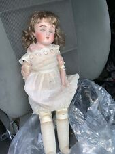 Antique Jdk Doll Germany Leather Body Missing Eyes Needs Retorarion