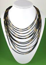 Modern Black and Gold Multi Row Lagenlook Necklace Lagenlook Jewellery