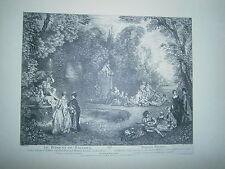 Planche gravure Le bosquet de Bacchus d'après le tableau de Watteau