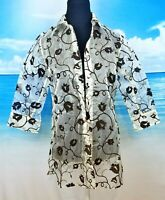 J&R Womans IVORY Sheer TUNIC Blouse BLACK VELVET Floral Print Lightweight size M