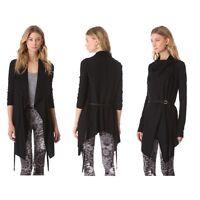 Helmut Lang Sonar Wool Leather Belted Cardigan Sweater Jacket Black S