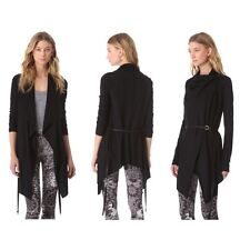 NWT Helmut Lang Sonar Wool Leather Belted Cardigan Sweater Jacket Black S