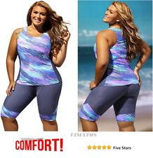 Women's Two Pieces Set Tankini Plus Size Swimwear Wetsuit Sport Swimsuit,XXXXL