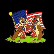Disney Chipmunks 2007 CHIP AN' DALE Memorial Day Flag Pin LE 250