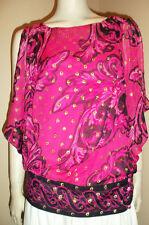 YOANA BARASCHI 100% Silk Pink Black Gold Metallic Angel Wing Sleeve Top Medium