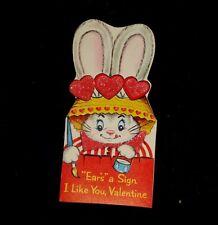Vtg Children FLOCKED Bunny Rabbit Boy Girl Kids School Animal Valentine Day Card
