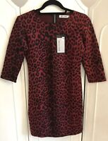 Papillonne Red Leopard Print Fitted Dress New Size M UK 12