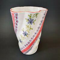 Fratelli Fanciullacci mid century Italy hand painted ceramic floral twist vase