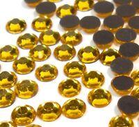 185 Hotfix Strasssteine 5mm SS20 GOLD TOPAS GLAS STRASS Bügelsteine BEST 43