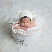 Crochet White Baby Newborn Bonnet Bear Hat Teddy Bear Crocheted Photo Prop