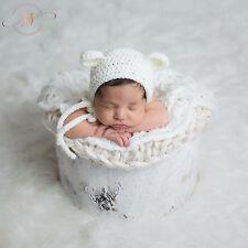 Blanco De Ganchillo Gorro de bebé recién nacido Bonnet oso de peluche Oso De Ganchillo Foto Prop