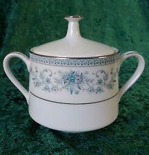 Vintage Noritake Blue Hill Lidded 2-Handled Sugar Bowl Pot Platinum 70s 2482