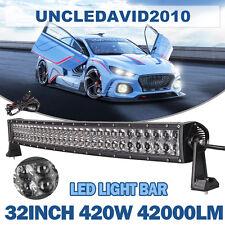 "4D 32"" 420W LED CREE Curved Light Bar Flood Spot Combo 4WD SUV Driving GMC USA"