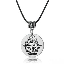 Paws Print Necklace Leather Chain Charm Jewelry Love Dogs Make My Life Whole