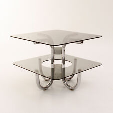 Tavolino con doppio piano in vetro anni 70, italian coffee table, chrome marble