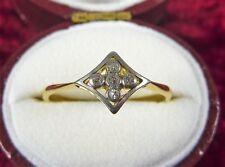 ANTIQUE VINTAGE ESTATE 18CT YELLOW GOLD  WHITE GOLD SET 4 STONE DIAMOND RING